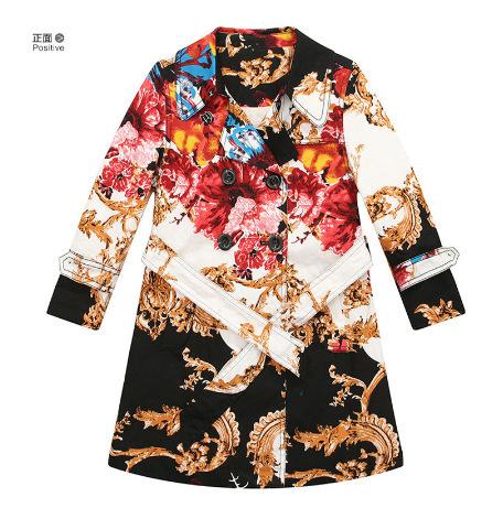 Novo revestimento de poeira Meninas Do Bebê Dot cós design Clássico flor cor casaco corta-vento casacos das crianças Por Atacado