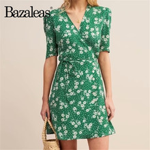 Bazaleas-robe portefeuille Vintage à col en V, robe avec cravate sur le côté, vert Tournesol, collection décontracté, livraison directe