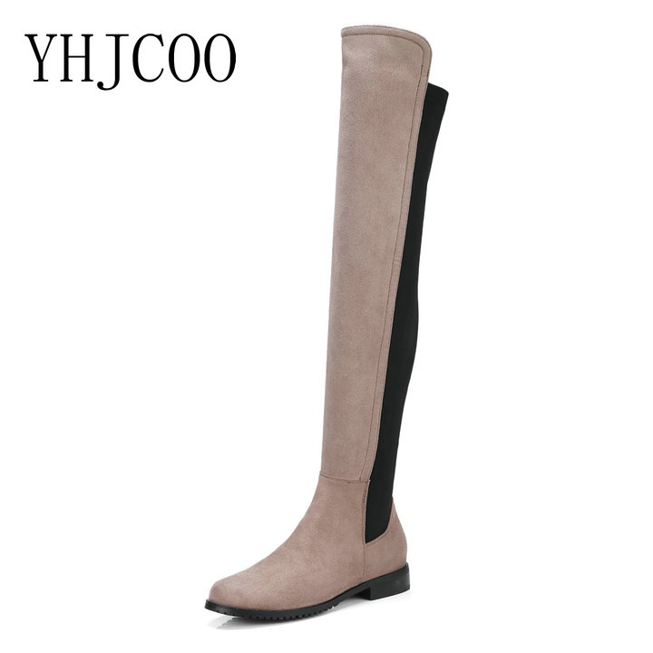 New Quality Flock Lycra Stretch Slim Women Boots Sexy Fashion Knee High Boots Thick with Women Low Heel Boots Shoes Plus Size 43