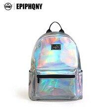 Epiphqny Marke Bling Silber Rucksack Fashion Rucksack Holographische Pu-leder Zurück zu Schule Bagpack Tasche Kleine