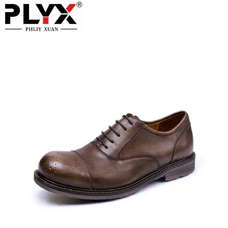 Бренд phliy Сюань Британский Ретро Новый 2017 Мужская обувь натуральная кожа 100% ручной работы Мужская обувь De MARQUE повседневные мужские туфли ту
