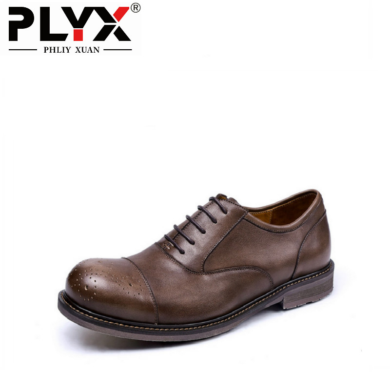 PHLIY XUAN British 2018 Retro Male Shoes Genuine Leather 100% Handmade Chaussure Homme De Marque Mens Shoes Casual 2018 new fashion hot sale mens casual shoes flat loafers male footwear british vintage chaussure homme de marque large size 44