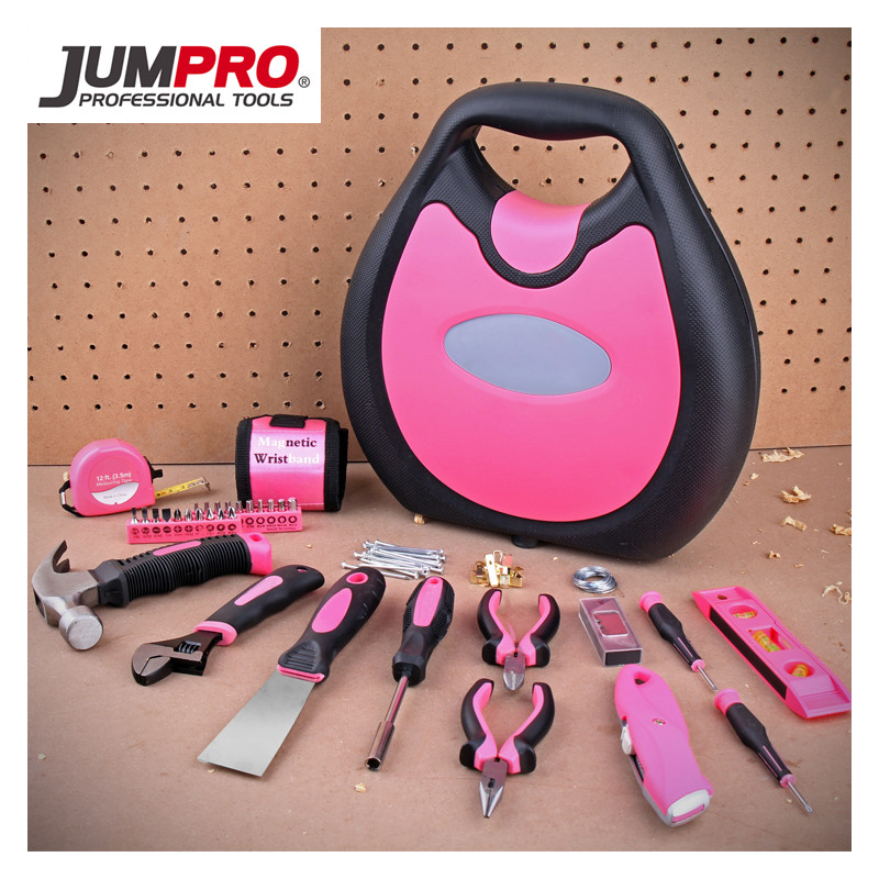 Jumpro Mother's Day Gift 77PC Ladies Tools Pink Tool Set Home Tool  Hammers Pliers Knife Screwdrivers Wrenches Tapes Hand Tool picasso ps e001 8 in 1 voltage tester knife pliers screwdrivers tape tools kit