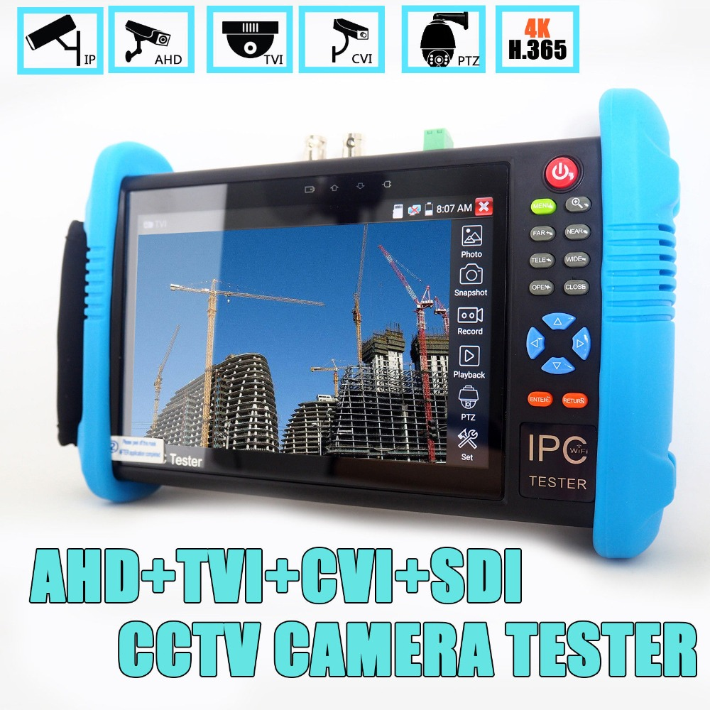 7 inch IPS Touch Screen H.265 4K IPC 9800 Plus IP Camera Tester CCTV CVBS Analog Tester Built in Wifi Dual Window Tester