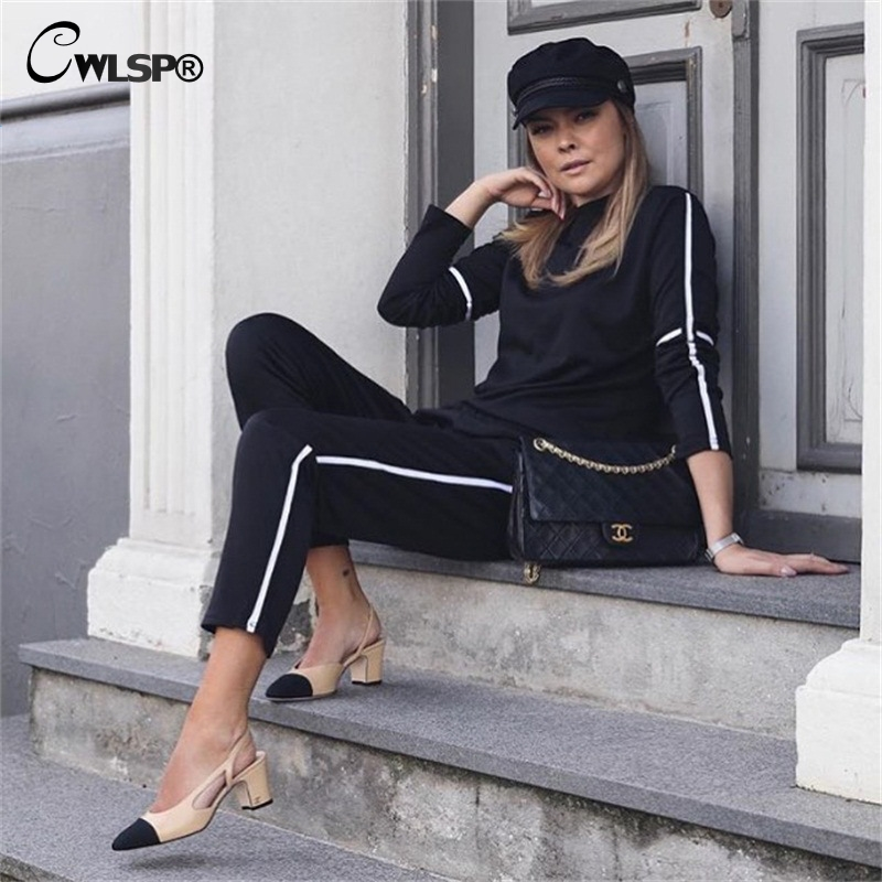 CWLSP Autumn Casual Side Striped Tracksuit for Women Skinny Patchwork 2 Pieces Sets Sportswear ropa deportiva mujer QL4142 4