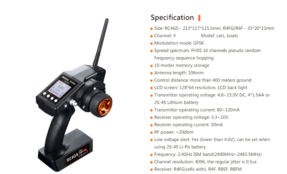 >NEW RadioLink RC4GS 2.4G 4CH Car Controller Transmitter + R6Fg Gyro Inside Receiver for RC Car Boat