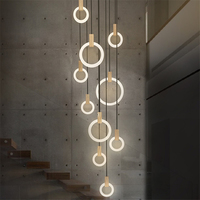 Nordic Led Acrylic Art Pendant Lights Bedroom Modrn Living Room Study Pendant Lamps Stair Villa Lighting Fixture Luminaire Avize