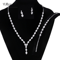 2019 spring new Luxurious wedding jewelry sets Necklace+Bracelet+earrings+free ring large wedding party accessories jewellery