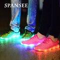 Size25-45 Летать Плетение LED Shoes with Light Up Светящиеся Светящиеся Кроссовки со Светом Подошвы Тренеры Корзина Femme для Детей Дети