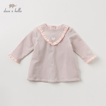 DB11468 dave bella autumn baby girl's princess cute plaid ruched dress children fashion party dress kids infant lolita clothes image