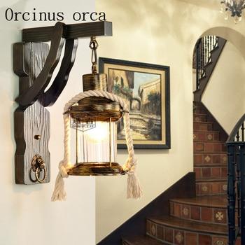 Nostalgic retro cafe bar personality lighting lamp wooden corridor balcony lamp rope Village