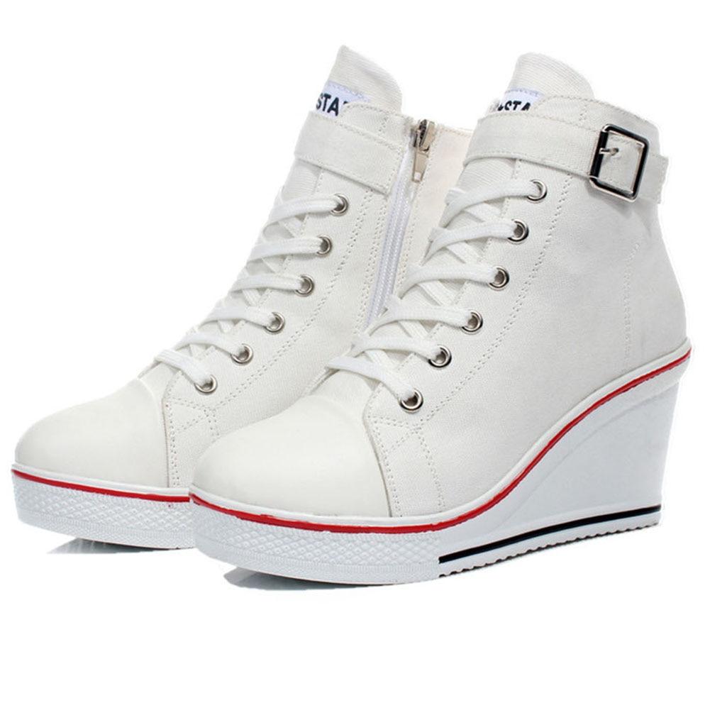 Besorgt Frauen Mode Strap Leinwand High Top Wedge Heels Stiefeletten Sneaker Schuhe Damen Höhe Zunehmende Schuhe