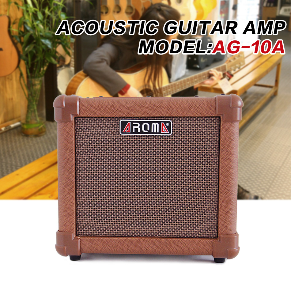 Aroma AG-10A Acoustic Guitar AMP Audio Amplifier Loudspeaker Box with Gauge Audio Cable, Hand Strap and Shoulder Strap ароматизатор aroma wind 002 a