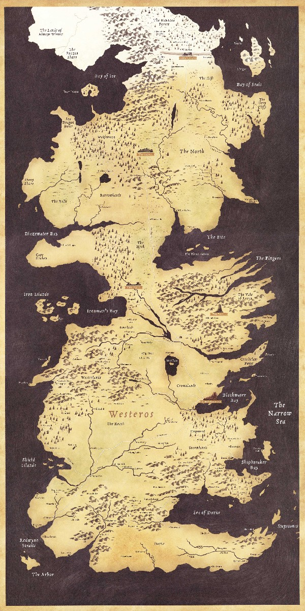 Mapa de Westeros em Game of Thrones.