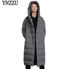 YNZZU Brand 2018 Winter Women Long Down Jackets Casual Loose Duck Coats with Hooded High Quality Warm Womens Jacket O595
