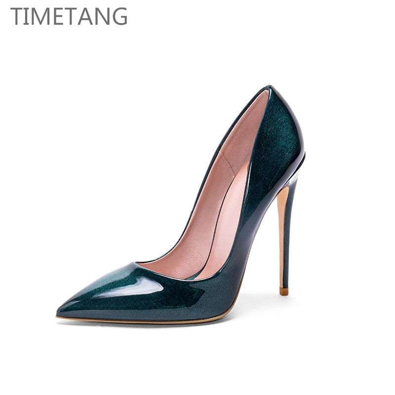 TIMETANG Vogue Design Hot Patent leather Pointed toe Sexy women Thin High heel Party wedding pums 31-43 Free shipping ...