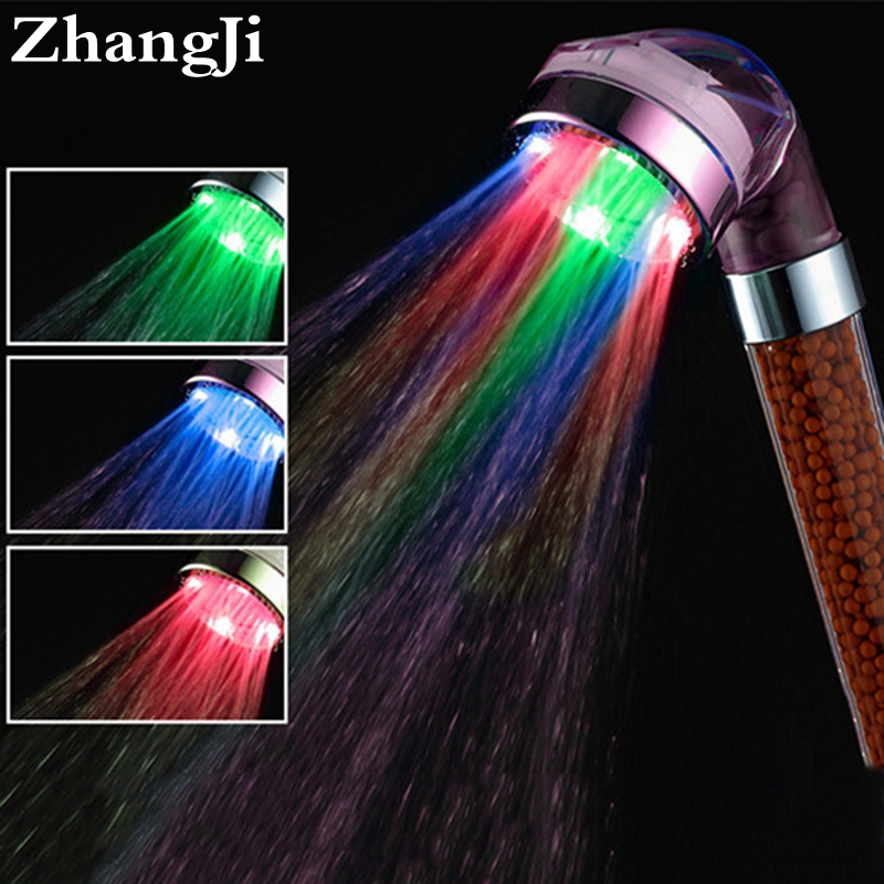 Fashion type 7 color LED shower heads Massage Transparent ABS showerhead Water saver and Purifying SPA