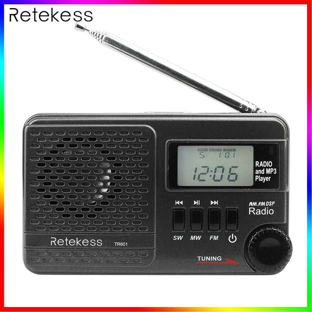 TR601 FM Radio AM SW Mini MP3 Player Multi-band Digital Stereo DSP Radio Receiver Audio Adapter