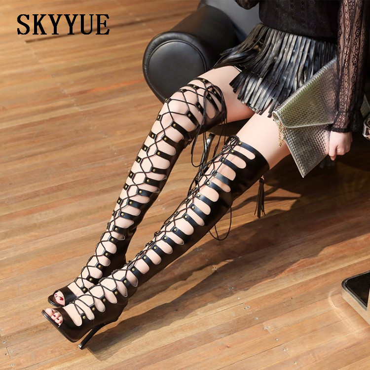 2018 New Black Rome Gladiator Cross Lace Up Over The Knee HIgh Thigh High Sandal Boots Summer Sexy Open Toe HIgh Heel Boots