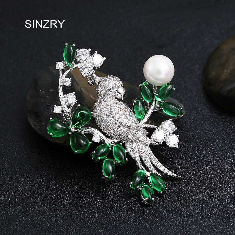 SINZRY bridal party jewelry accessory Imitation pearl cubic zirconia bird brooch pin fashion lady personality scarf buckles sinzry elegant new 2018 cubic zirconia yellow daisy flower suit brooches pin lady scarf buckle jewelry accessory for women