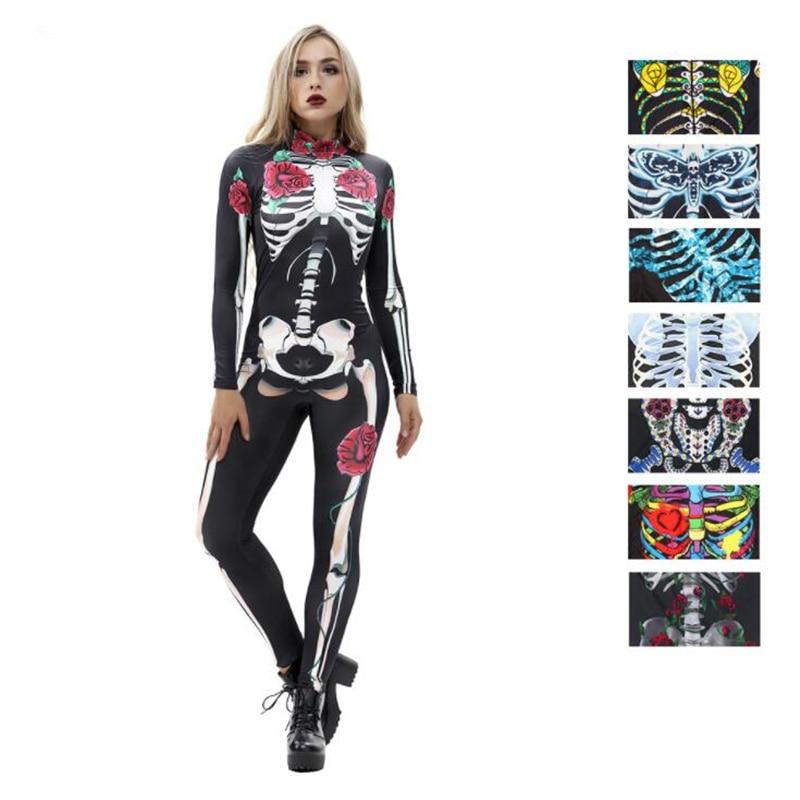 New Skull Skeleton Catsuit Nulticolour Sexy Cosplay Costumes Halloween Women Bodysuit Zentai Jumpsuit Fancy Dress