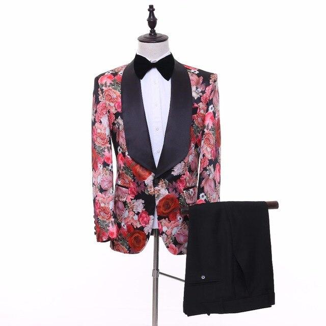 2018 New 3 Style Flower Pattern Men Party Prom Tuxedos Men Wedding ...