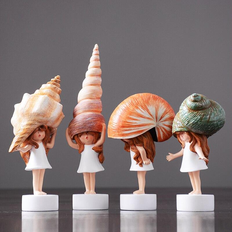 Modern Lovely Conch Girl Mini Cute Kawai sea snail baby resin fairy garden miniatures figurines Crafts Birthday wedding Gifts