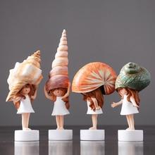 Modern Lovely Conch Girl Mini Cute Kawai sea snail baby resin fairy garden miniatures figurines Crafts