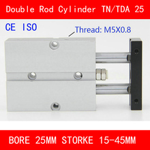 CE ISO TN25 TDA Twin Spindle Air Cylinder Bore 25mm Stroke 10-45mm Dual Action Air Pneumatic Cylinders Double Action Pneumatic ce iso sda50 cylinder sda series bore 50mm stroke 5 40mm compact air cylinders dual action air pneumatic cylinder