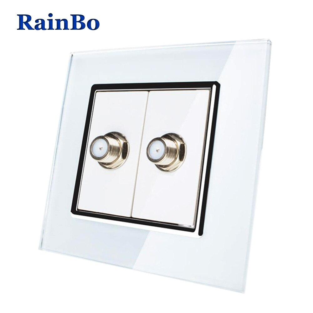 RainBo Brand Free Shipping Satellite Socket  EU Standard Outlet Crystal Glass Panel Socket A182SAW/B аксессуар для игровой консоли rainbo накладки на стики для геймпада зенит