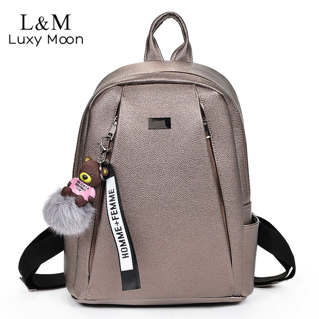 7c29c4a4f6e4 Fashion Gold Leather Backpack Women Black Vintage Large Bag For Female  Teenage Girls School Bag Solid