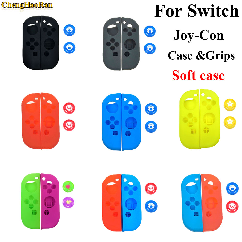 1 set Soft Silicone Protective Skin Case + 2pcs Controller Grips Joystick Caps Cover for Nintend Switch NS Joy Con Controller-in Cases from Consumer Electronics