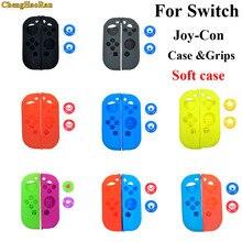 1 set Zachte Siliconen Beschermende Huid Case + 2 stuks Handvat Grips Joystick Caps Cover voor Nintendo Switch NS Vreugde  Con Controller