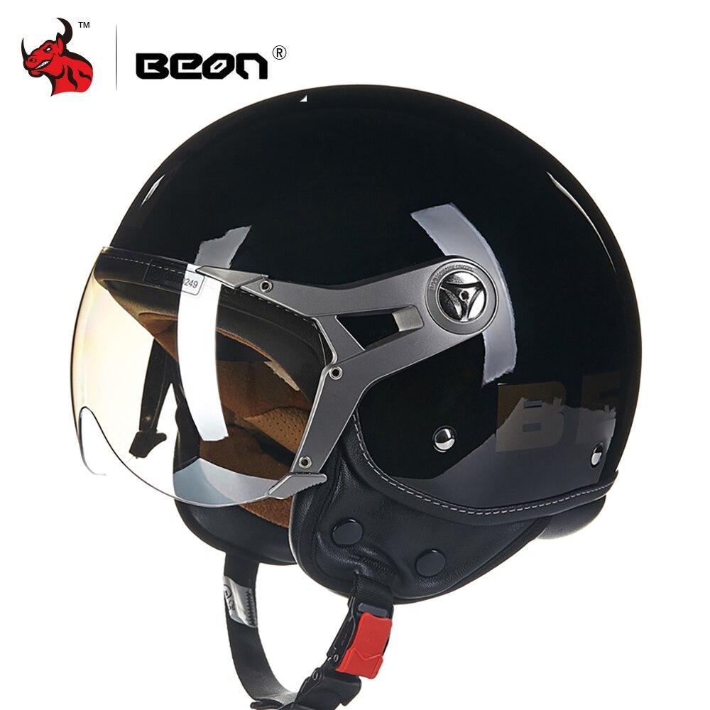 BEON Vintage Motorrad Helm Motorrad Moto Casco Capacete Roller 3/4 Open Gesicht Biker Helm Visier Capacetes Motociclistas