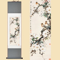 Chinese Silk Watercolor Flower And Three Birds Magnolia Tree Feng Shui Ink Art Wall Picture Damask