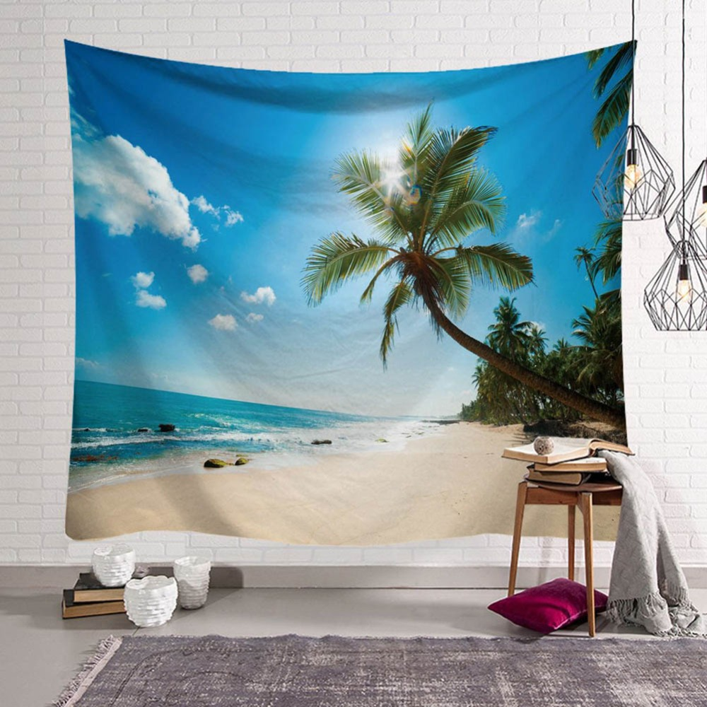 Beautiful Sea View Wall Hanging Tapestry Home Decor Beach Towel Picnic Throw Rug Blanket Mat Mandala Seaside Scenery Tapisserie