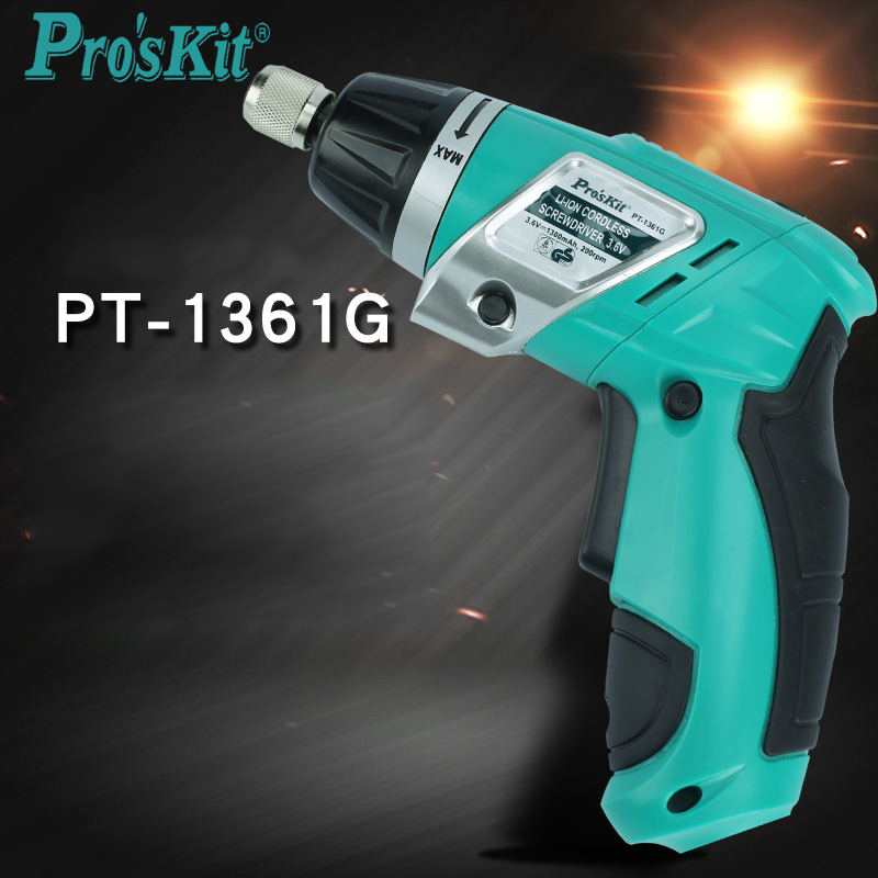 PT-1361G Lithium Electric Screwdriver Rechargeable Drill Slotted Phillips Cordless Electric Drill Power Tools free shipping proskit pt 1361cordless screwdriver 3 6v led light precision electric screwdriver power tools computer electrician