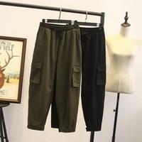 Spring Cargo Pants Women Fashion Elastic High Waist Korean Sports Pants Female Plus Size 2xl 3xl Ladies Casual Military Trousers