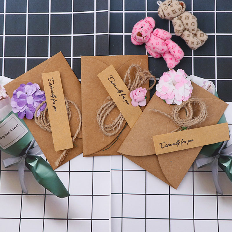 5pcs /lot Krean Stationery DIY Retro Envelope Kraft Paper Flowers Handmade Postcard Blessings Combination Greeting Cards