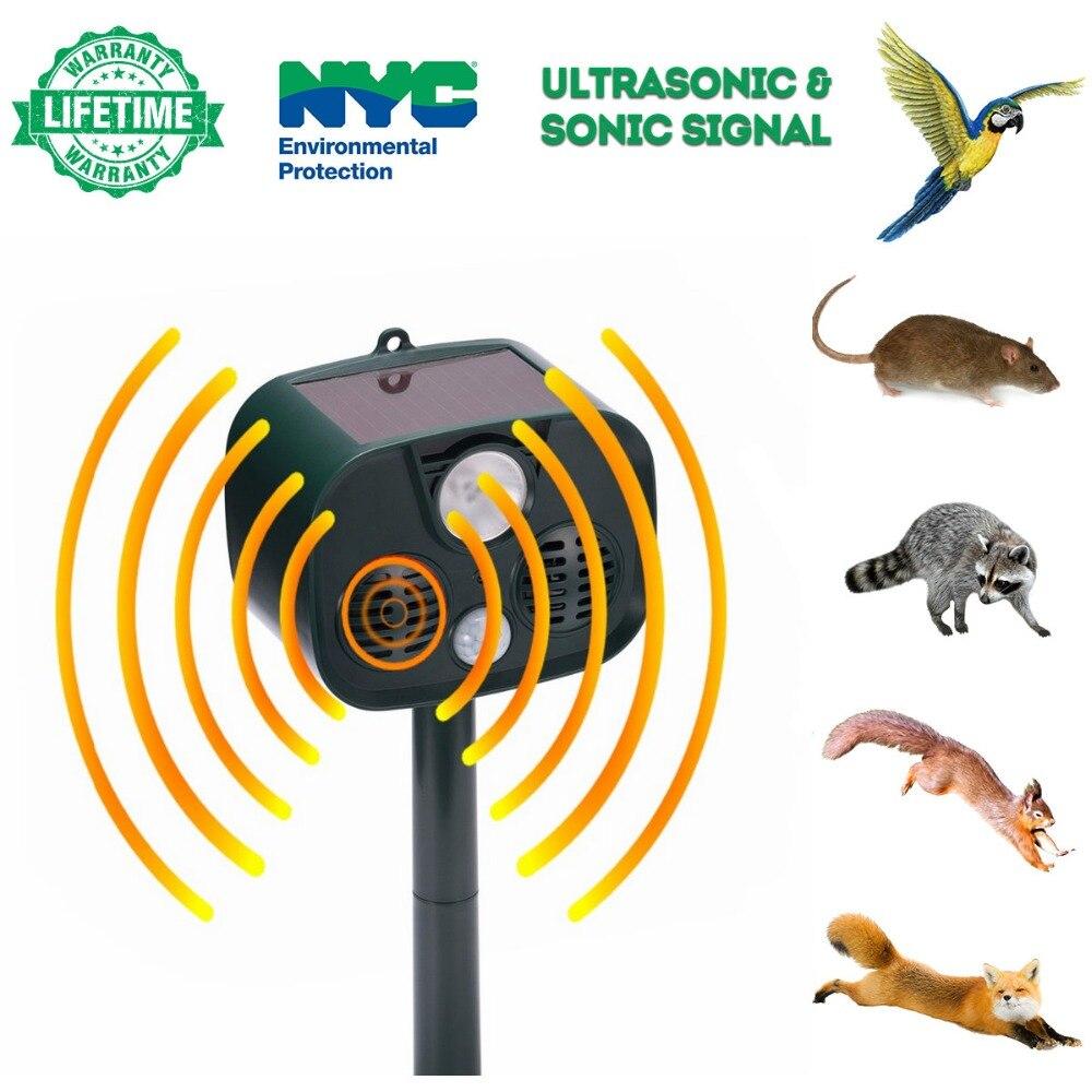 New ABS Solar Outdoor Burglar Alarm Anti-Animal Drive Camping Burglar Alarm Self-defense Alarm Flash LED Light Ultrasonic Mosq