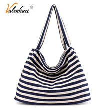 Women Canvas Summer Beach Bags Ladies New Fashion Casual Striped Bag Girls Large Wild Zebra Handbags Top-Handle Bags Tote SD-065(China)