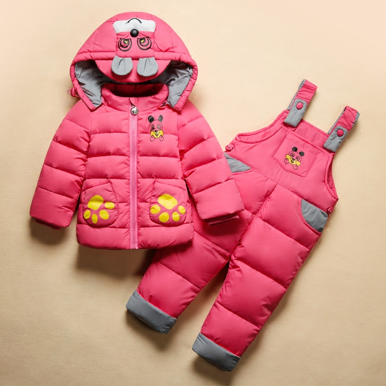 ФОТО 2017 Russia Winter Girl's clothing sets baby boys Jumpsuits -30 degree down feather Jackets/coats+rompers snow warm clothes