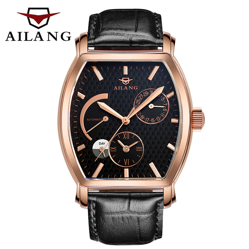 AILANG 2017 New Genuine Leather Band Automatic Mechanical Watch For Men Fashion Gear Wrist Watch Reloj Army Hombre Horloge gucamel automatic mechanical watch hollow out design genuine leather band for men