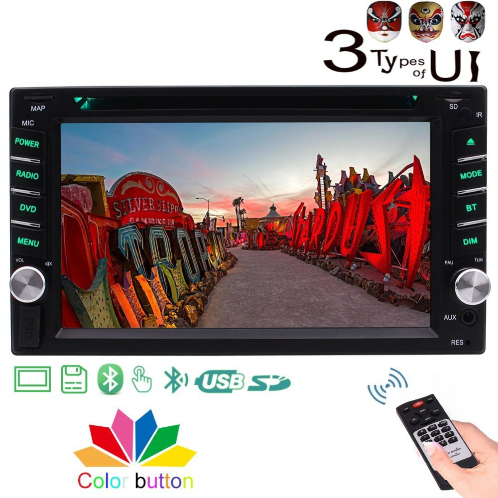 Double Din car stereo multimedia bluetooth CD/DVD Player 1080P Video Aux USB SD Touchscreen car logo Remote control FM AM 1563u 1 din 12v car radio audio stereo mp3 players cd player support usb sd mp3 player aux dvd vcd cd player with remote control