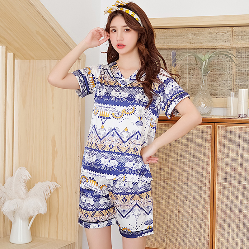 Women Sleepwear new Summer silk   Pajamas   V-neck Silk Print Sweet young Girl pijama mujer fashion Short Pant Cute Silk   Pajama     Sets