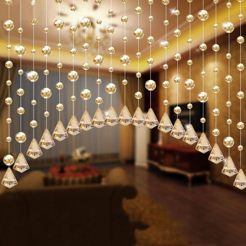 Luxury Fashion Decoration Maison Glass Beads Door String Tassel Curtain Wedding Divider Panel Room Decor Enfeites Para Casa@T10