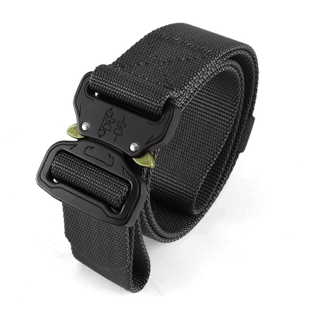Men Adjustable Military Belt Safety Harness Heavy Duty Soldier Combat Tactical Belts Nylon Waistband with Automatic Buckle DA3 babyinstar girls sweater cloak 2018 children cotton sweater coats turtleneck tassel cloak girls sweaters cape kids knit cardigan