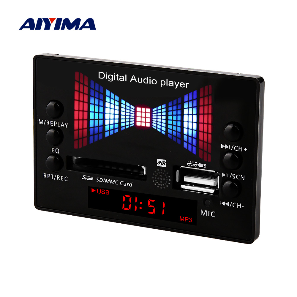 AIYIMA Lossless Decoder Board MP3 USB AUX SD FM Radio Decoding With Recording 12V Digital Audio Player DIY Home Power Amplifier