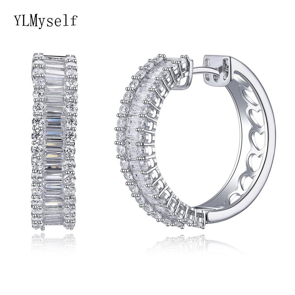 New top quality silver hoop earring micro pave shiny CZ jewelry daily wear statement OL 925 Sterling silver circle earrings 2018 new clip no pierced jewelry young girl women delicate micro pave black cz stack 925 silver fashion elegant ear cuff earring