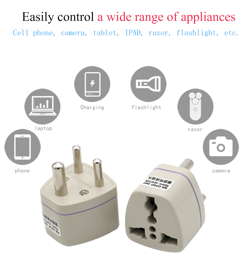 Universal UKUSEUAU to Small South Africa Plug AC Power Multi Outlet Adapter 3 pin Travel Converter Socket India travel (10)